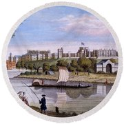 Windsor Castle From Across The Thames Round Beach Towel