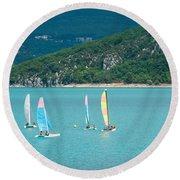 Windsurfers On The Lake, Lac De Sainte Round Beach Towel