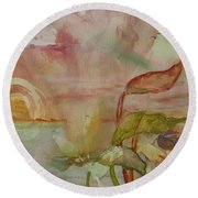 Round Beach Towel featuring the painting Windswept by Robin Maria Pedrero