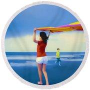 Children Playing On The Beach Round Beach Towel by Vizual Studio