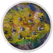Round Beach Towel featuring the painting Windy by Laurie L