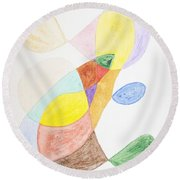 Round Beach Towel featuring the painting Windy  by Stormm Bradshaw
