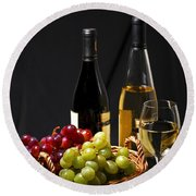 Wine And Grapes Round Beach Towel