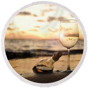 Wine And Sunset Round Beach Towel