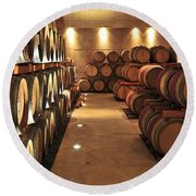 Wine Barrels Round Beach Towel