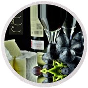 Wine Bottle With Glass Round Beach Towel