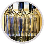 Wine Bottles Round Beach Towel