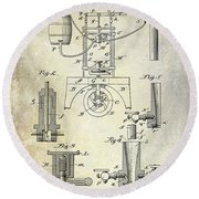 1890 Wine Bottling Machine Round Beach Towel