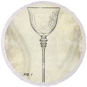Wine Glass Patent Drawing Round Beach Towel
