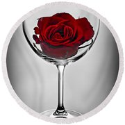 Wine Glass With Rose Round Beach Towel by Elena Elisseeva