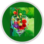 Wine On The Vine IIi Round Beach Towel