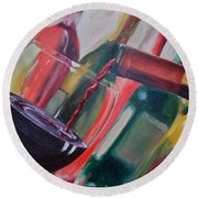 Wine Pour IIi Round Beach Towel by Donna Tuten