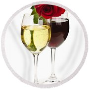 Wine With Red Rose Round Beach Towel