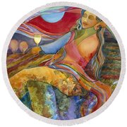Wine Woman And Song Round Beach Towel