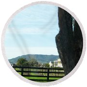 Round Beach Towel featuring the photograph Winery by Bobbee Rickard