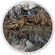 Wing Up Reflection Round Beach Towel