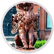 Winged Lion Fountain Round Beach Towel
