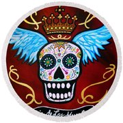 Round Beach Towel featuring the painting Winged Muertos by Pristine Cartera Turkus