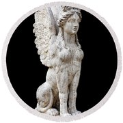 Winged Sphinx Round Beach Towel