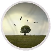 Wings Over The Tree Round Beach Towel
