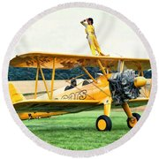 Wingwalking Round Beach Towel