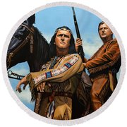 Winnetou And Old Shatterhand Round Beach Towel