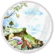 Helping Hands After E H Shepard Round Beach Towel