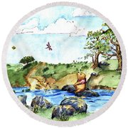 Imagining The Hunny  After E  H Shepard Round Beach Towel