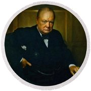 Round Beach Towel featuring the painting Winston Churchill by Adam Asar