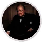 Winston Churchill Round Beach Towel