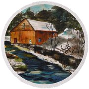 Winter Afternoon Round Beach Towel by John Williams