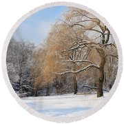 Winter Along The River Round Beach Towel
