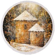Winter Angel Round Beach Towel