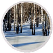 Round Beach Towel featuring the photograph Winter Aspens by Jack Bell