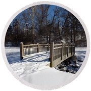 Winter At Creekside Round Beach Towel