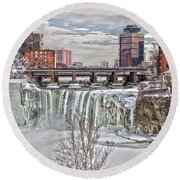Winter At High Falls Round Beach Towel
