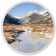 Winter At Horseshoe Park In Rocky Mountain National Park Round Beach Towel