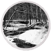 Round Beach Towel featuring the photograph Winter At Pedelo Black And White by Deena Stoddard