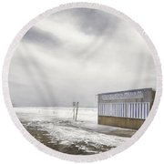 Winter At The Cabana Round Beach Towel by Scott Norris