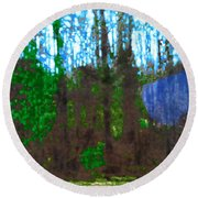 Round Beach Towel featuring the photograph Winter Awaits Spring by Seth Weaver