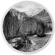 Winter Backroads Englishman River Round Beach Towel