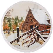 Winter - Barn - Snow In Nevada Round Beach Towel