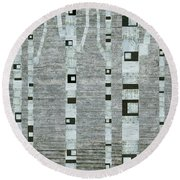 Winter Birches Round Beach Towel
