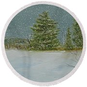 Round Beach Towel featuring the painting Winter Blanket by Judith Rhue