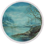 Winter Blue Round Beach Towel