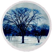 Round Beach Towel featuring the photograph Winter Blues by Shawna Rowe