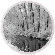 Round Beach Towel featuring the photograph Winter By Crum Creek by Deborah  Crew-Johnson