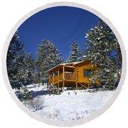 Winter Cabin Round Beach Towel