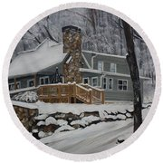 Winter - Cabin - In The Woods Round Beach Towel