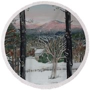 Winter - Cabin - Pink Knob Round Beach Towel